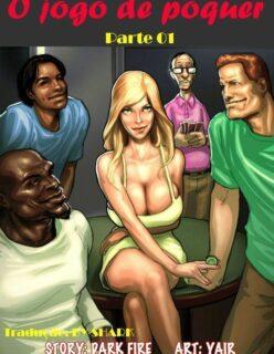 O jogo de poker – quadrinhos interracial